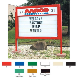 "Aarco DMBS5286BA Double Sided Marquee Sign with Symbol Case and Header - Bronze Anodized  52"" x 86"""