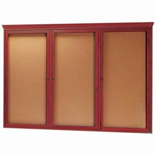 Aarco CBC4872RC 3 Door Enclosed Bulletin Board with Crown Molding and Cherry Finish 48