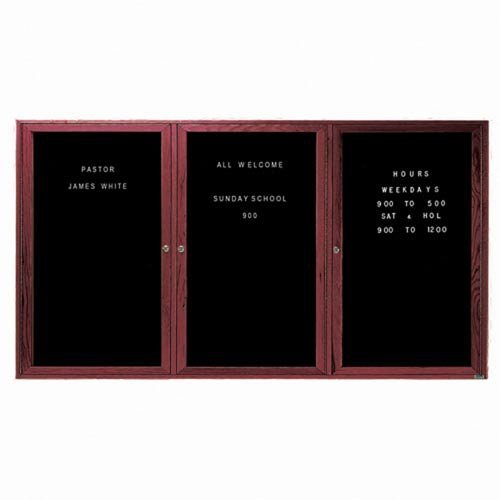 Aarco CDC3672-3 3 Door Enclosed Changeable Letter Board with Cherry Finish 36