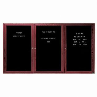 Aarco CDC4872-3 3 Door Enclosed Changeable Letter Board with Cherry Finish 48