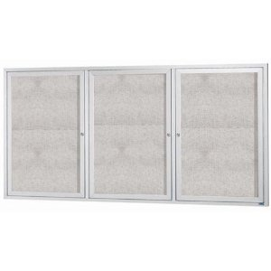 "Aarco ODCC3672-3R 3 Door Enclosed Bulletin Board with Aluminum Frame 36"" x 72"""