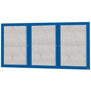 "Aarco ODCC3672-3RB 3 Door Enclosed Bulletin Board with Blue Powder Coated Aluminum Frame 36"" x 72"""