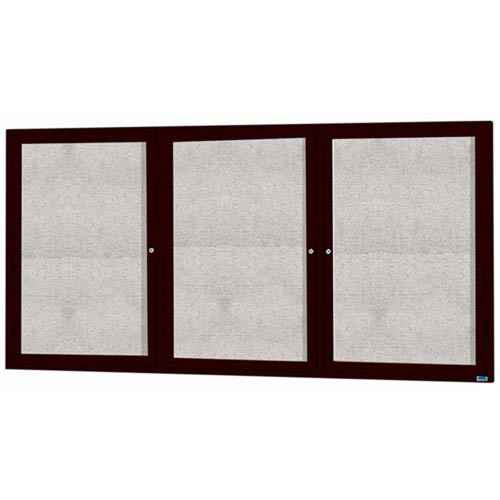 "Aarco ODCC3672-3RBK 3 Door Enclosed Bulletin Board with Black Powder Coated Aluminum Frame 36"" x 72"""
