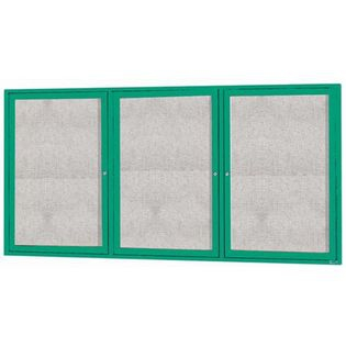 """Aarco ODCC3672-3RG 3 Door Enclosed Bulletin Board with Green Powder Coated Aluminum Frame 36"""" x 72"""""""