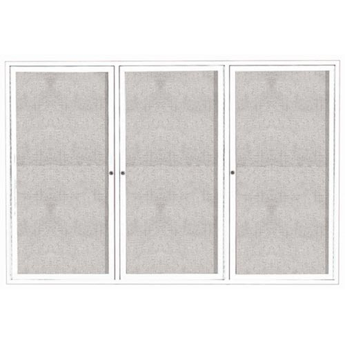 "Aarco ODCC4872-3RW 3 Door Outdoor Enclosed Bulletin Board with White Powder Coated Aluminum Frame 48"" x 72"""
