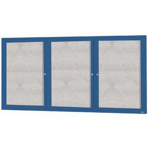 "Aarco ODCC4896-3RB 3 Door Outdoor Enclosed Bulletin Board with Blue Powder Coated Aluminum Frame 48"" x 96"""