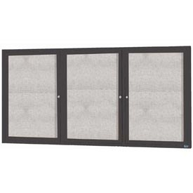"Aarco ODCC4896-3RBA 3 Door Outdoor Enclosed Bulletin Board with Bronze Anodized Aluminum Frame 48"" x 96"""