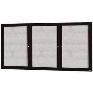 "Aarco ODCC4896-3RBK 3 Door Outdoor Enclosed Bulletin Board with Black Powder Coated Aluminum Frame 48"" x 96"""