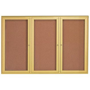 Aarco WFC4872G 3 Door Enclosed Bulletin Board with Waterfall Style Aluminum Frame - Gold Brass Finish 48