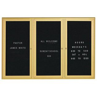 Aarco WFD4872G 3 Door Enclosed Directory Board with Waterfall Style Aluminum Frame -Gold Brass Finish  48