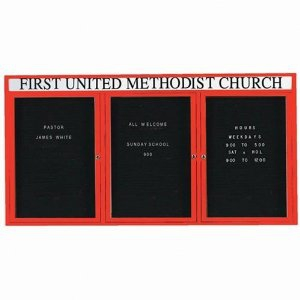 Aarco ADC3672-3HIR 3 Door Illuminated Enclosed Directory Board with Red Anodized Aluminum Frame and Header 36