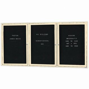 Aarco ADC4872-3IV 3 Door Illuminated Enclosed Directory Board with Ivory Anodized Aluminum Frame 48