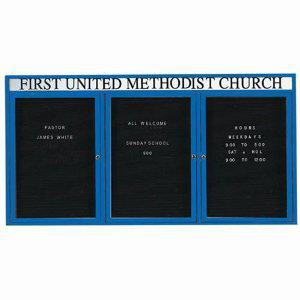 Aarco ADC4896-3HIB 3 Door Illuminated Enclosed Directory Board with Blue Anodized Aluminum Frame and Header 48