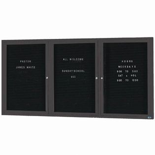 Aarco ADC4896-3IBA 3 Door Illuminated Enclosed Directory Board with Bronze Anodized Aluminum Frame 48