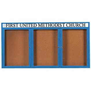 "Aarco DCC3672-3RHIB 3 Door Indoor Illuminated Enclosed Bulletin Board with Blue Powder Coated Aluminum Frame and Header 36"" x 72"""