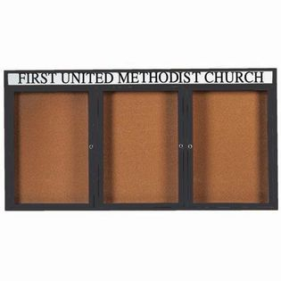 "Aarco DCC3672-3RHIBA 3 Door Indoor Illuminated Enclosed Bulletin Board with Bronze Anodized Aluminum Frame and Header 36"" x 72"""