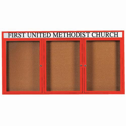 "Aarco DCC3672-3RHIR 3 Door Indoor Illuminated Enclosed Bulletin Board with Red Powder Coated Aluminum Frame and Header 36"" x 72"""