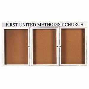 "Aarco DCC3672-3RHIW 3 Door Indoor Illuminated Enclosed Bulletin Board with White Powder Coated Aluminum Frame and Header 36"" x 72"""
