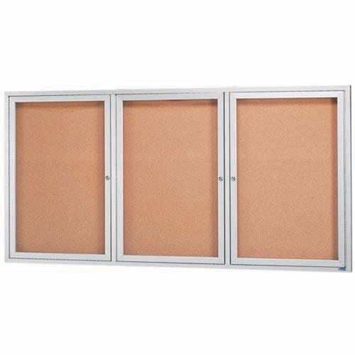"Aarco DCC3672-3RI 3 Door Indoor Illuminated Enclosed Bulletin Board with Aluminum Frame 36"" x 72"""