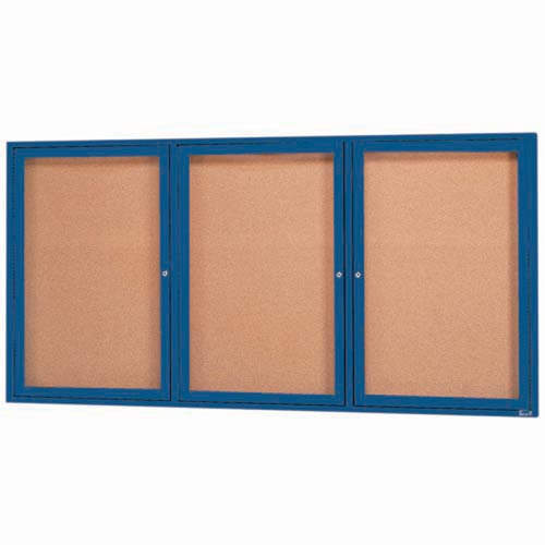 "Aarco DCC3672-3RIB 3 Door Indoor Illuminated Enclosed Bulletin Board with Blue Powder Coated Aluminum Frame 36"" x 72"""