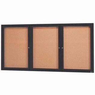 "Aarco DCC3672-3RIBK 3 Door Indoor Illuminated Enclosed Bulletin Board with Black Powder Coated Aluminum Frame 36"" x 72"""
