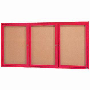 "Aarco DCC3672-3RIR 3 Door Indoor Illuminated Enclosed Bulletin Board with Red Powder Coated Aluminum Frame 36"" x 72"""