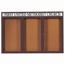 """Aarco DCC4872-3RHIBA 3 Door Indoor Illuminated Enclosed Bulletin Board with Bronze Anodized Aluminum Frame and Header 48"""" x 72"""""""