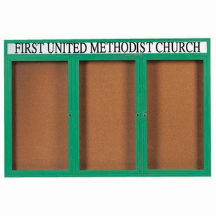"Aarco DCC4872-3RHIG 3 Door Indoor Illuminated Enclosed Bulletin Board with Green Powder Coated Aluminum Frame and Header 48"" x 72"""