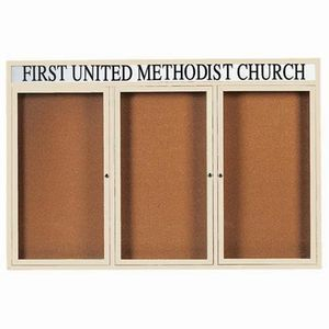 "Aarco DCC4872-3RHIIV 3 Door Indoor Illuminated Enclosed Bulletin Board with Ivory Powder Coated Aluminum Frame and Header 48"" x 72"""