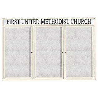 "Aarco DCC4872-3RHIW 3 Door Indoor Illuminated Enclosed Bulletin Board with White Powder Coated Aluminum Frame and Header 48"" x 72"""