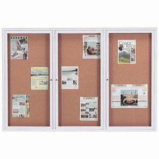 "Aarco DCC4872-3RI 3 Door Indoor Illuminated Enclosed Bulletin Board with Aluminum Frame 48"" x 72"""
