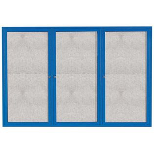 "Aarco DCC4872-3RIB 3 Door Indoor Illuminated Enclosed Bulletin Board with Blue Powder Coated Aluminum Frame 48"" x 72"""