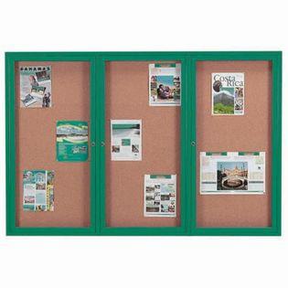 "Aarco DCC4872-3RIG 3 Door Indoor Illuminated Enclosed Bulletin Board with Green Powder Coated Aluminum Frame 48"" x 72"""