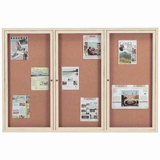 "Aarco DCC4872-3RIV 3 Door Indoor Enclosed Bulletin Board with Ivory Powder Coated Aluminum Frame 48"" x 72"""