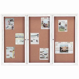 "Aarco DCC4872-3RIW 3 Door Indoor Illuminated Enclosed Bulletin Board with White Powder Coated Aluminum Frame 48"" x 72"""