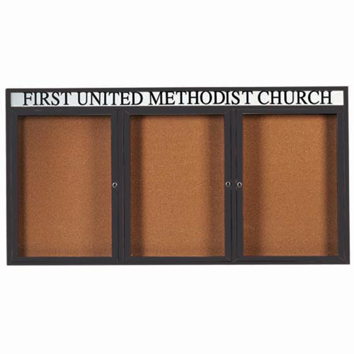 "Aarco DCC4896-3RHIBA 3 Door Indoor Illuminated Enclosed Bulletin Board with Bronze Anodized Aluminum Frame and Header 48"" x 96"""
