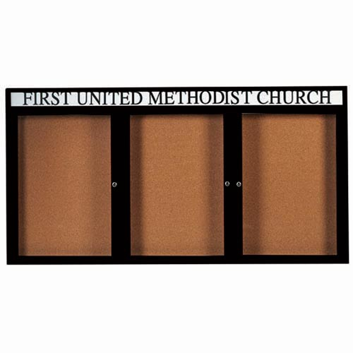 "Aarco DCC4896-3RHIBK 3 Door Indoor Illuminated Enclosed Bulletin Board with Black Powder Coated Aluminum Frame and Header 48"" x 96"""