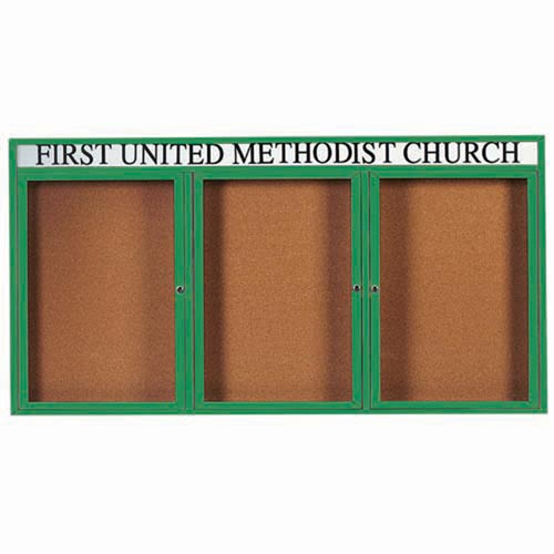 "Aarco DCC4896-3RHIG 3 Door Indoor Illuminated Enclosed Bulletin Board with Green Powder Coated Aluminum Frame and Header 48"" x 96"""