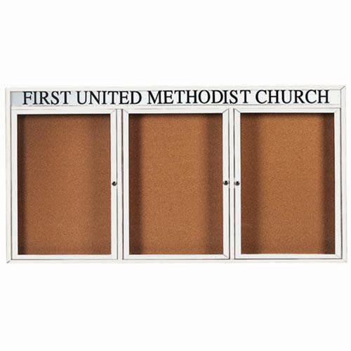"""Aarco DCC4896-3RHIW 3 Door Indoor Illuminated Enclosed Bulletin Board with White Powder Coated Aluminum Frame and Header 48"""" x 96"""""""