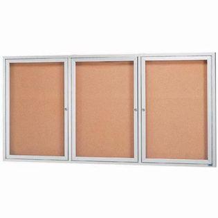 "Aarco DCC4896-3RI 3 Door Indoor Illuminated Enclosed Bulletin Board with Aluminum Frame 48"" x 96"""
