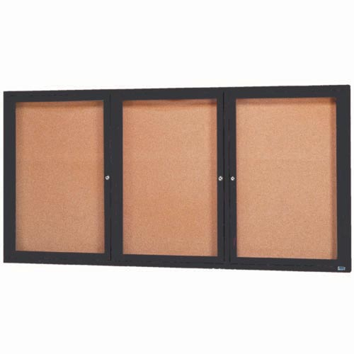 "Aarco DCC4896-3RIBA 3 Door Indoor Illuminated Enclosed Bulletin Board with Bronze Anodized Aluminum Frame 48"" x 96"""