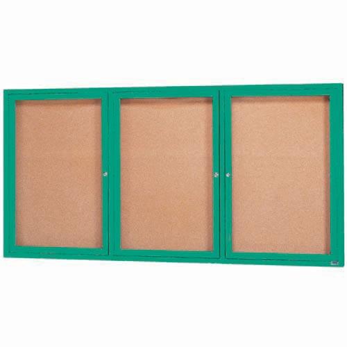 "Aarco DCC4896-3RIG 3 Door Indoor Illuminated Enclosed Bulletin Board with Green Powder Coated Aluminum Frame 48"" x 96"""