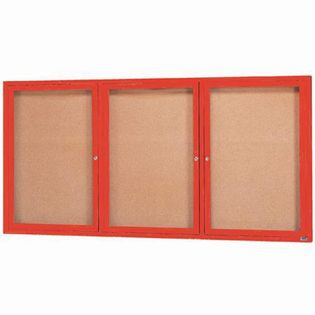 "Aarco DCC4896-3RIR 3 Door Indoor Illuminated Enclosed Bulletin Board with Red Powder Coated Aluminum Frame 48"" x 96"""