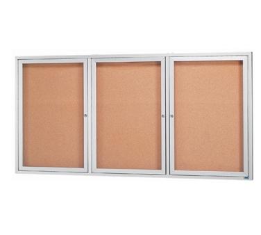 Aarco DCC3672-3R 3 Door Indoor Enclosed Bulletin Board with Aluminum Frame  36