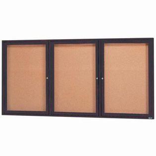 Aarco DCC3672-3RBA 3 Door Indoor Enclosed Bulletin Board with Bronze Anodized  Aluminum Frame  36