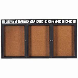 Aarco DCC3672-3RHBK 3 Door Indoor Enclosed Bulletin Board with Black Powder Coated Aluminum Frame  and Header 36
