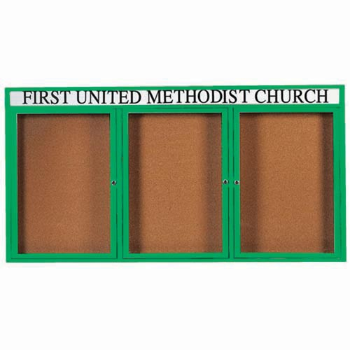 Aarco DCC3672-3RHG 3 Door Indoor Enclosed Bulletin Board with Green Powder Coated Aluminum Frame  and Header 36