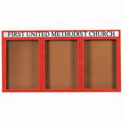 Aarco DCC3672-3RHR 3 Door Indoor Enclosed Bulletin Board with Red Powder Coated Aluminum Frame  and Header 36
