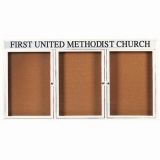 Aarco DCC3672-3RHW 3 Door Indoor Enclosed Bulletin Board with White Powder Coated Aluminum Frame  and Header 36