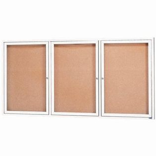 Aarco DCC3672-3RW 3 Door Indoor Enclosed Bulletin Board with White Powder Coated Aluminum Frame  36